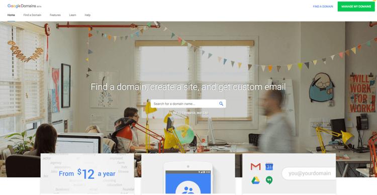 Google Domain Homepage