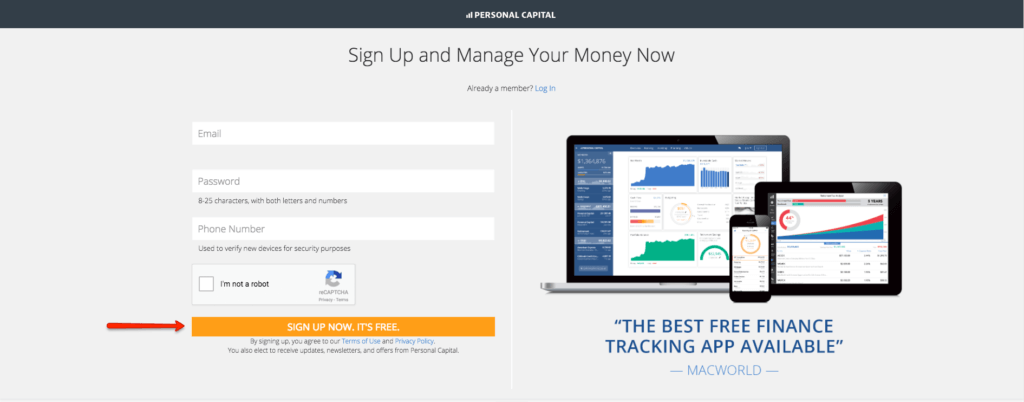 sign up for personal capital for free